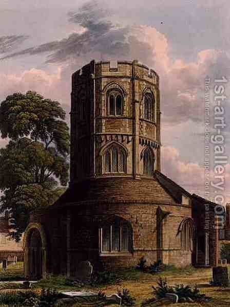 Church of the Holy Sepulchre, Cambridge, from The History of Cambridge, engraved by J. Hill, pub. by R. Ackermann, 1815 by (after) Pugin, Augustus Charles - Reproduction Oil Painting