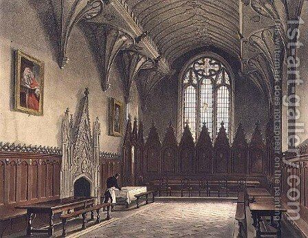 Interior view of the hall of University College, illustration from the History of Oxford, engraved by J. Hill, pub. by R. Ackermann, 1814 by (after) Pugin, Augustus Charles - Reproduction Oil Painting