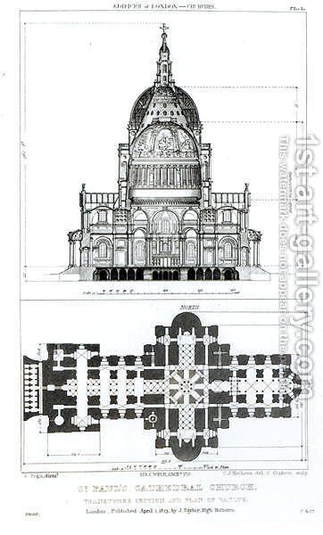 Cross section of St. Pauls Cathedral and plan of the vaults, engraved by C. J. Mathews and G. Gladwin, published in 1823 by (after) Pugin, Augustus Charles - Reproduction Oil Painting