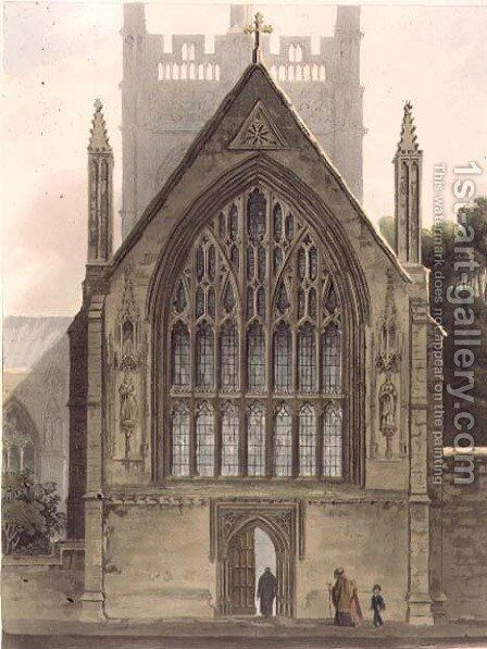 Exterior of Merton College, facing the north window of the Ante chapel, illustration from the 'History of Oxford', engraved by I. Sutherland, pub. by R. Ackermann, 1813 by (after) Pugin, Augustus Charles - Reproduction Oil Painting