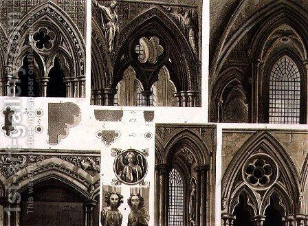 Fragments and Arches in Westminster Abbey, plate 11 from Westminster Abbey, engraved by Thomas Sutherland, pub. by Rudolph Ackermann 1764-1834 1811 by (after) Pugin, Augustus Charles - Reproduction Oil Painting
