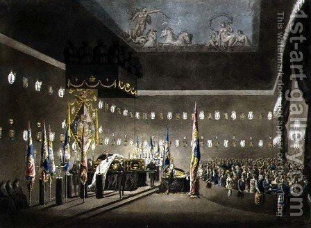 Remains of Lord Viscount Nelson Laying in State in the Painted Chamber at Greenwich Hospital, engraved by J. Merigot, pub. 1806 by (after) Pugin, Augustus Charles - Reproduction Oil Painting