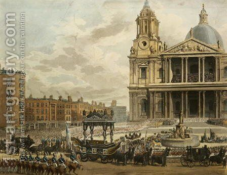 Funeral Procession of the late Viscount Nelson, from the Admiralty to St.Pauls, 9th January 1806, engraved by Merigot, pub. 1806 by (after) Pugin, Augustus Charles - Reproduction Oil Painting
