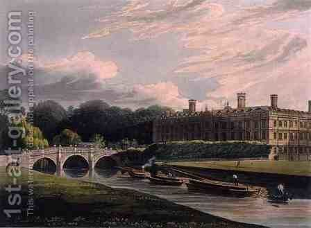 Exterior of Clare Hall, Cambridge, from The History of Cambridge, engraved by J. Bluck fl.1791-1831, pub. by R. Ackermann, 1815 by (after) Pugin, Augustus Charles - Reproduction Oil Painting