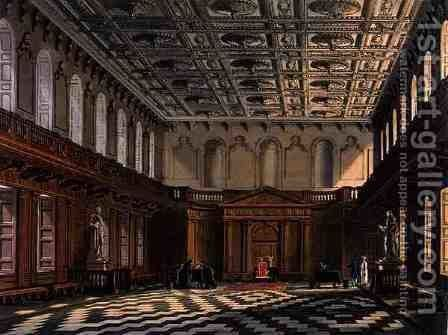 Interior of the Senate House, Cambridge from The History of Cambridge, engraved by Daniel Havell 1785-1826, pub. by R. Ackermann, 1815 by (after) Pugin, Augustus Charles - Reproduction Oil Painting