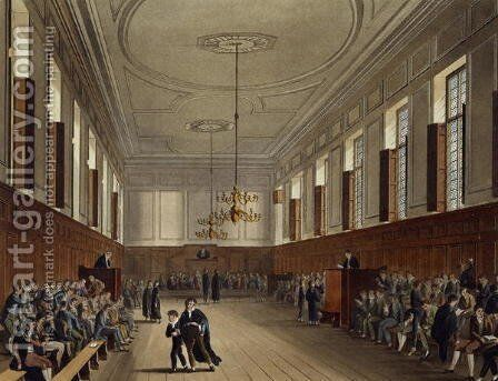 Eton School Room, from History of Eton College, part of History of the Colleges, engraved by Joseph Constantine Stadler fl.1780-1812 pub. by R. Ackermann, 1816 by (after) Pugin, Augustus Charles - Reproduction Oil Painting