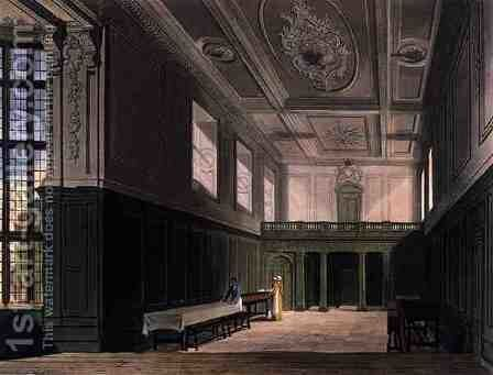 The Hall of Sidney College, Cambridge, from The History of Cambridge, engraved by Daniel Havell 1785-1826, pub. by R. Ackermann, 1815 by (after) Pugin, Augustus Charles - Reproduction Oil Painting