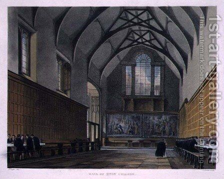 Hall of Eton College, from History of Eton College, part of History of the Colleges, engraved by Joseph Constantine Stadler fl.1780-1812 pub. by R. Ackermann, 1816 by (after) Pugin, Augustus Charles - Reproduction Oil Painting