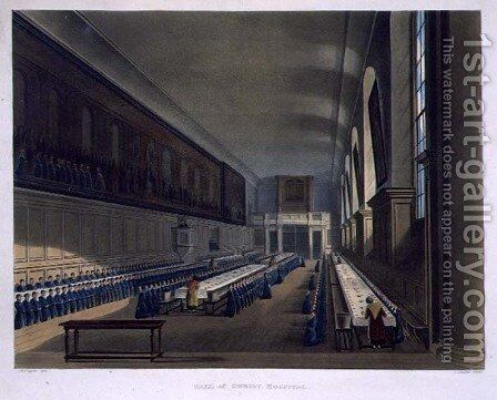 Hall of Christ Hospital, from History of Christs Hospital', part of History of the Colleges, engraved by Joseph Constantine Stadler fl.1780-1812 pub. by R. Ackermann, 1816 by (after) Pugin, Augustus Charles - Reproduction Oil Painting