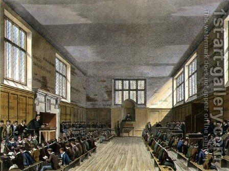Harrow School Room from History of Harrow School, part of History of the Colleges, engraved by Daniel Havell 1785-1826 pub. by R. Ackermann, 1816 by (after) Pugin, Augustus Charles - Reproduction Oil Painting