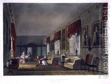 Dr. Fishers Apartments at Charter House, from History of Charter House School, part of History of the Colleges, engraved by Joseph Constantine Stadler fl.1780-1812 pub. by R. Ackermann, 1816 by (after) Pugin, Augustus Charles - Reproduction Oil Painting