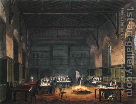 Hall of Westminster School, from Ackermanns History of Westminster School, part of History of the Colleges, engraved by J. Stadler, published 1816 by (after) Pugin, Augustus Charles - Reproduction Oil Painting