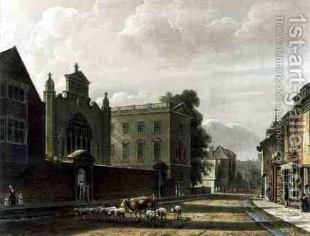 Exterior of St. Peters College Peterhouse, Cambridge, from The History of Cambridge, engraved by Joseph Constantine Stadler fl.1780-1812, pub. by R. Ackermann, 1815 by (after) Pugin, Augustus Charles - Reproduction Oil Painting