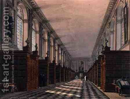 Interior of Trinity College Library, Cambridge, from The History of Cambridge, engraved by Daniel Havell 1785-1826, pub. by R. Ackermann, 1815 by (after) Pugin, Augustus Charles - Reproduction Oil Painting
