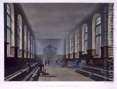 The Merchant Taylors School Room, from History of Merchant Taylors School, part of History of the Colleges, engraved by Joseph Constantine Stadler fl.1780-1812 pub. by R. Ackermann, 1816 by (after) Pugin, Augustus Charles - Reproduction Oil Painting