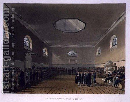 Charter House School Room, from History of Charter House School, part of History of the Colleges, engraved by J. Bluck fl.1791-1831 pub. by R. Ackermann, 1816 by (after) Pugin, Augustus Charles - Reproduction Oil Painting