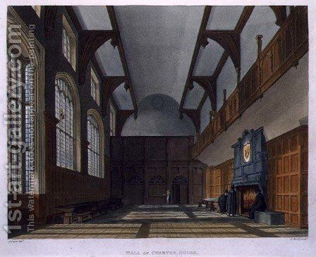 Hall of Charter House, from History of Charter House School', part of 'History of the Colleges, engraved by Daniel Havell 1785-1826 pub. by R. Ackermann, 1816 by (after) Pugin, Augustus Charles - Reproduction Oil Painting