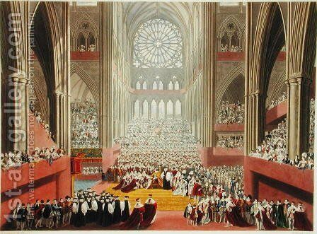 The Ceremony of the Homage, 19th July 1821, from an album celebrating the Coronation of King George IV 1762-1830 engraved by William James Bennett 1787-1844 published 1824 by (after) Pugin, A.W. and Stephanoff, J. - Reproduction Oil Painting