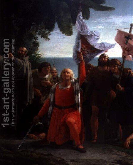 The First Disembarkation of Christopher Columbus in America, detail of Christopher Columbus 1451-1206 giving thanks, 1862 by Dióscoro Teófilo Puebla Tolín - Reproduction Oil Painting