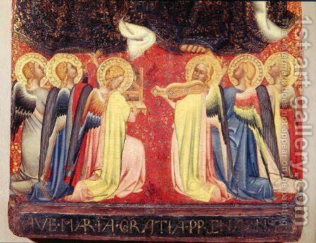 The Coronation of the Virgin, detail of angel musicians, c.1350 by Simone Puccio di - Reproduction Oil Painting