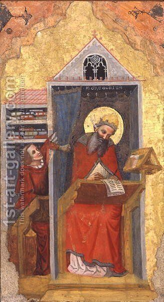 St. Gregory the Great 540-604 in his Study by Jacopino di Francesco Pseudo - Reproduction Oil Painting