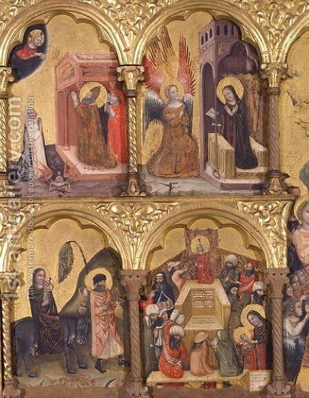 Polyptych of the Dormition of the Virgin, detail of St. Gregory the Great 540-604 Praying for the Deliverance of the Soul of Trajan 53-117 from Purgatory, the Annunciation, the Flight into Egypt and Jesus with the Doctors by Jacopino di Francesco Pseudo - Reproduction Oil Painting