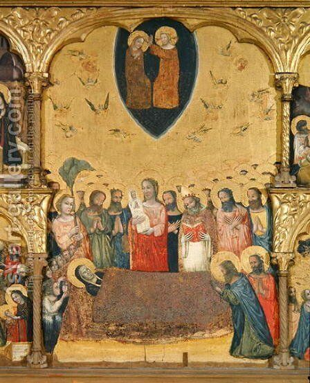 Polyptych of the Dormition of the Virgin, detail of the Dormition and Coronation by Jacopino di Francesco Pseudo - Reproduction Oil Painting