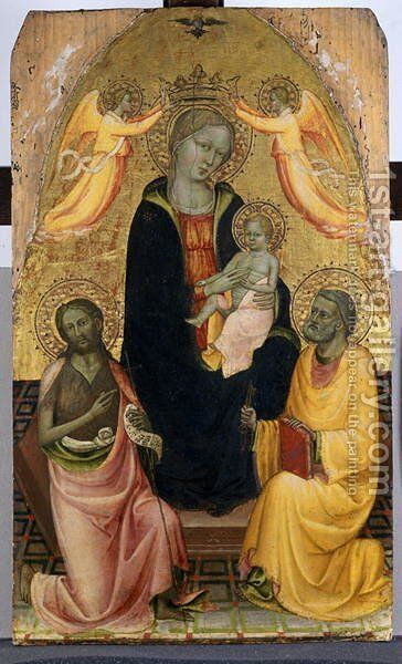 Enthroned Madonna and Child being crowned by two Angels, John the Baptist and the Apostle Peter, c.1410-20 by Baldese Pseudo - Reproduction Oil Painting