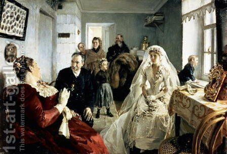 Before the Wedding, 1880s by Illarion Mikhailovich Pryanishnikov - Reproduction Oil Painting