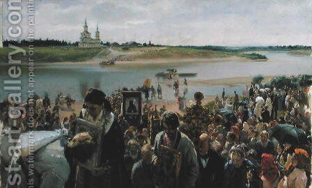 A Religious Procession by Illarion Mikhailovich Pryanishnikov - Reproduction Oil Painting