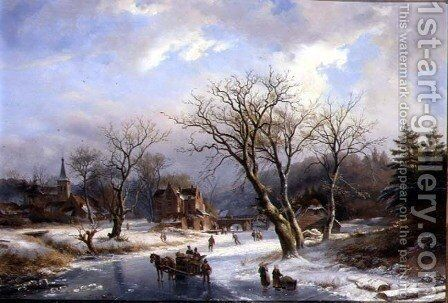 Figures Skating on a Frozen River Before a Village by Albert Jurardus van Prooijen - Reproduction Oil Painting