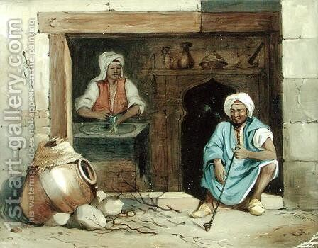 An Egyptian Woman Making Cadaifs, c.1848 by Emile Prisse d'Avennes - Reproduction Oil Painting