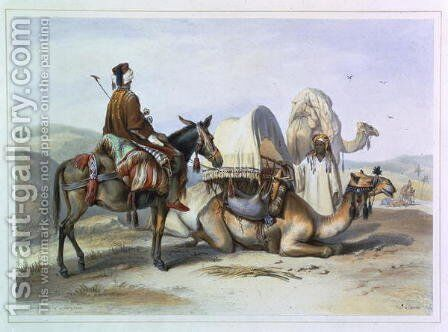 Kafila with a Camel Bearing a Hodesh, illustration from The Valley of the Nile, engraved by Lehnert, pub. by Lemercier, 1848 by Emile Prisse d'Avennes - Reproduction Oil Painting