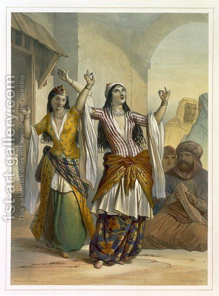 Egyptian Dancing Girls Performing the Ghawazi at Rosetta, illustration from The Valley of the Nile, engraved by Achille Deveria 1800-57 pub. by Lemercier, 1848 by Emile Prisse d'Avennes - Reproduction Oil Painting