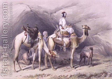Dromedaries Halting in the Desert, illustration from The Valley of the Nile, engraved by Lehnert, pub. by Lemercier, 1848 by Emile Prisse d'Avennes - Reproduction Oil Painting