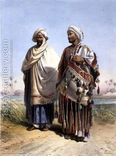 A Nubian and a Fellah Carrying a Dromedary Saddlebag, illustration from The Valley of the Nile, engraved by Eugene Le Roux 1807-63 pub. by Lemercier, 1848 by Emile Prisse d'Avennes - Reproduction Oil Painting
