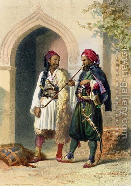 Arnaout and Osmanli Soldiers in Alexandria, illustration from The Valley of the Nile, engraved by Mouilleron, pub. by Lemercier, 1848 by Emile Prisse d'Avennes - Reproduction Oil Painting