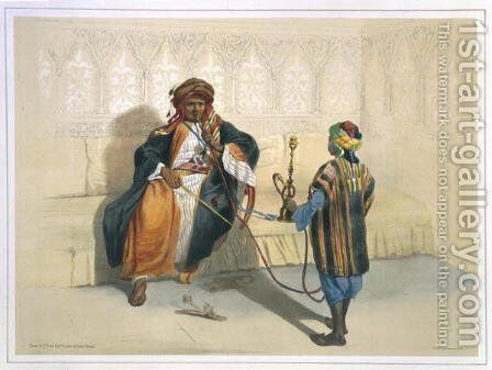 An Arab Sheikh Smoking, illustration from The Valley of the Nile, engraved by Saint Germain, pub. by Lemercier, 1848 by Emile Prisse d'Avennes - Reproduction Oil Painting
