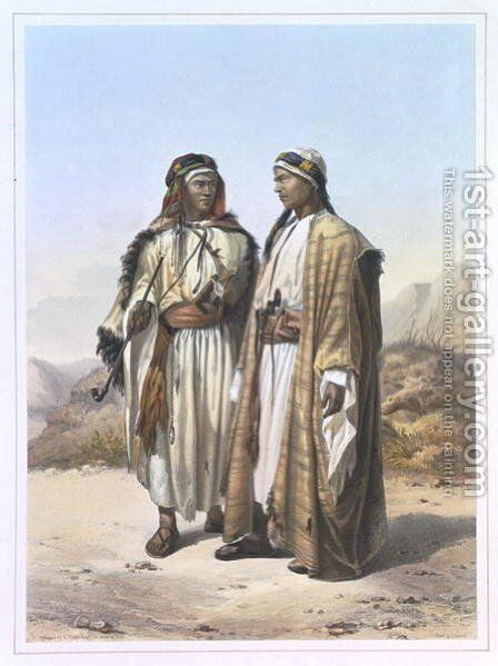 A Mahazi and a Soualeh Bedouin, illustration from The Valley of the Nile, engraved by Charles Bour 1814-81 pub. by Lemercier, 1848 by Emile Prisse d'Avennes - Reproduction Oil Painting