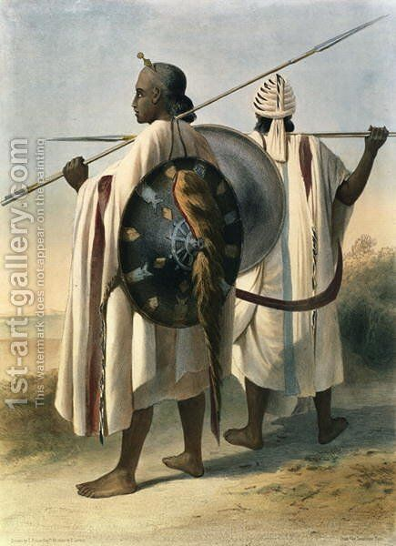 Abyssinian Warriors, illustration from The Valley of the Nile, engraved by Eugene Le Roux 1807-63 pub. by Lemercier, 1848 by Emile Prisse d'Avennes - Reproduction Oil Painting