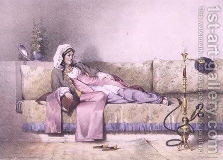 Egyptian Woman in a Harem in Cairo, illustration from The Valley of the Nile engraved by Bureau, pub. by Lemercier, 1848 by Emile Prisse d'Avennes - Reproduction Oil Painting
