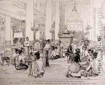 The Viceroy of India in Burmah Burmese Ladies Taking Tea with Lady Dufferin in the Palace at Mandalay, from The Illustrated London News, 4th March 1886 by Melton Prior - Reproduction Oil Painting