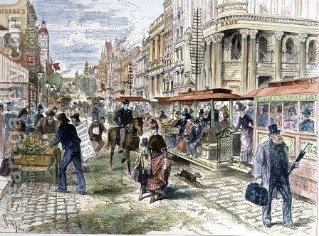 Collins Street, Melbourne, from the Illustrated London News, 11th May 1889 by Melton Prior - Reproduction Oil Painting
