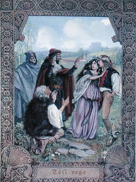 Illustration from The Winters Tale by William Shakespeare 1564-1616 c.1900 by Christian August Printz - Reproduction Oil Painting