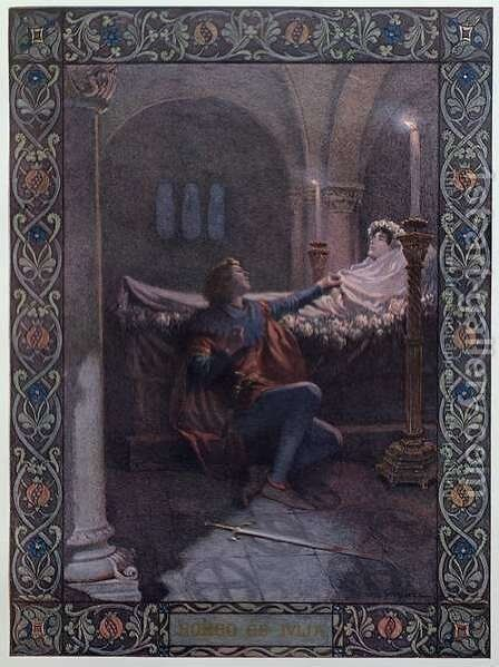 Romeo and Juliet, c.1900 by Christian August Printz - Reproduction Oil Painting