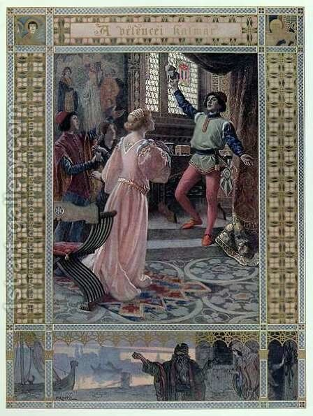 Illustration from The Merchant of Venice by William Shakespeare 1565-1616 c.1900 by Christian August Printz - Reproduction Oil Painting