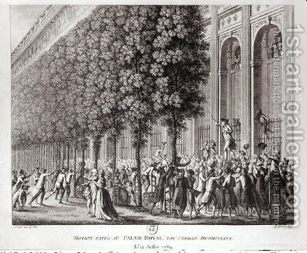 Camille Desmoulins 1760-94 Speaking at the Palais Royal, 12 July 1789, engraved by Pierre Gabriel Berthault 1737-1831 by (after) Prieur, Jean Louis, II - Reproduction Oil Painting