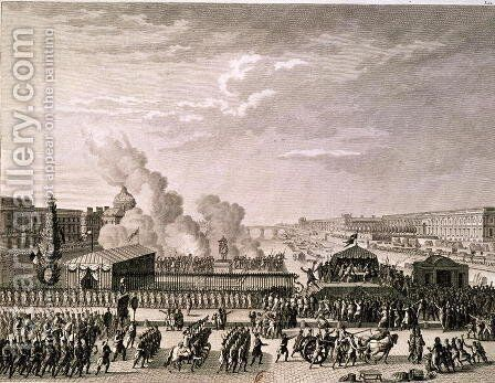 Proclamation of the Danger to the Homeland, 22nd July 1792, engraved by Pierre Gabriel Berthault 1737-1831 by (after) Prieur, Jean Louis, II - Reproduction Oil Painting