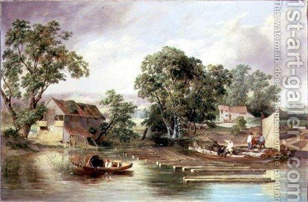 Taverham Paper Mill, Norfolk, 1839 by Alfred Priest - Reproduction Oil Painting