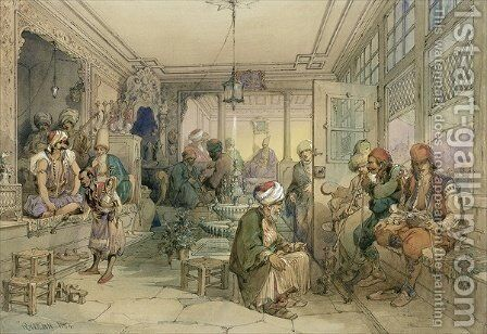 A Coffee House, Constantinople, 1854 by Amadeo Preziosi - Reproduction Oil Painting